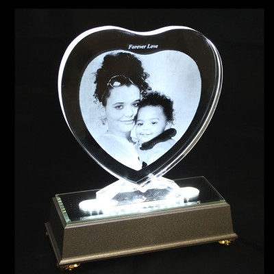 2D Heart Photo Crystal (Large 150x160x15mm)